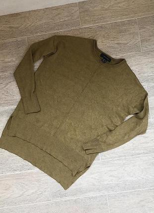 Женский свитер мелкой вязки оливкового цвета, джемпер  ужлиненный сзади