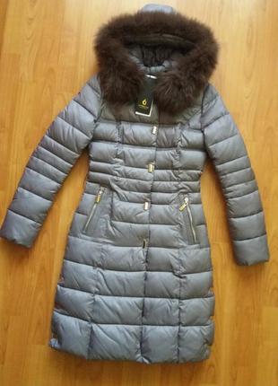 Зимняя куртка- пальто серо - металлического цвета