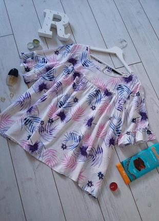 Модная легкая яркая вискозная блуза casual
