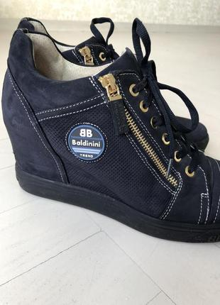 Сникерсы, ботинки baldinini италия синие , замшевые размер 393 фото