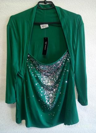 Яркая нарядная блуза с блестками размер 22!!!!