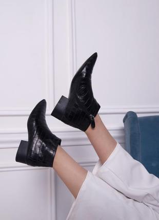 Ботинки mango кожа крокодила