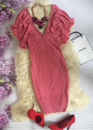 Шикарное розовое вязаное платье миди