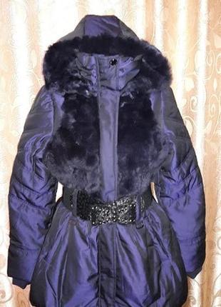 Красивая новая женская теплая куртка, пуховик с мехом кролика myokie paris