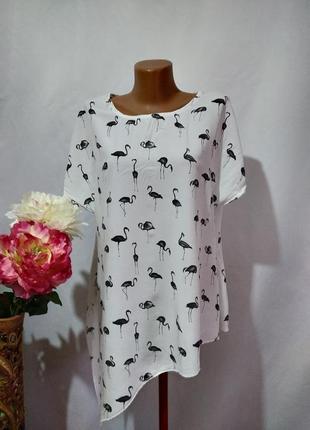 Натуральная блузка с декором в принт фламинго. италия