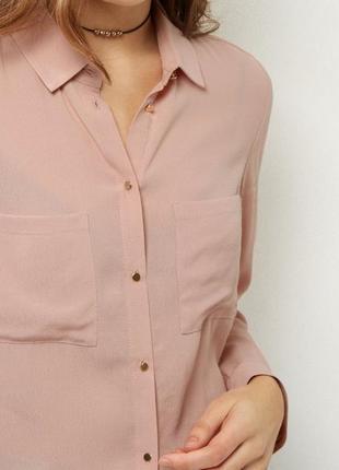 Нюдовая блуза, рубашка с накладными карманами new look