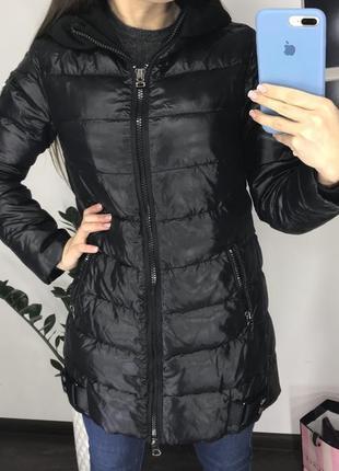 Стильный чёрный пуховик /зимняя куртка пуховик натуральный пух