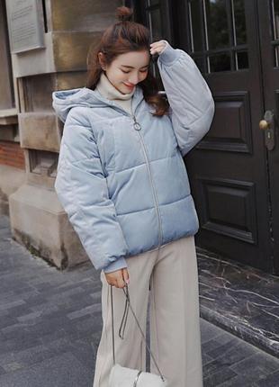 Бархатная куртка голубого цвета 💙
