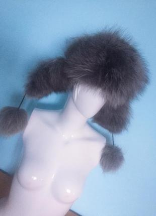 Меховая шапка кожа+чернобурка