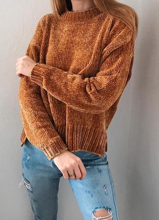 Трендовый горчичный плюшевый свитер m&s