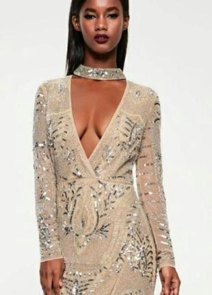 Нюдовое платье в пайетках missguided