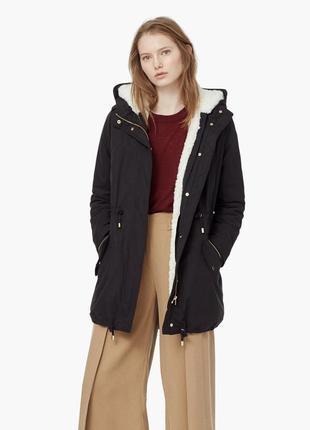 Новая бомбезная зимняя теплая парка куртка на овчине от mango casual 2 в 1