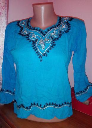 Туника в бохо стиле натуральная ткань с вышивкой