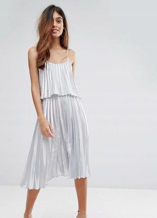 Oh my love розкішна срібна сукня-плісе