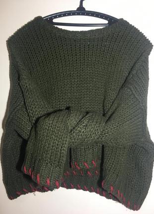 Укороченный свитер крупной вязки zara knit в составе шерсть