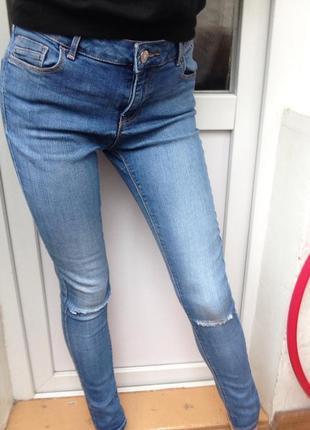 Синие хлопковые джинсы dorothy perkins , рваные джинсы denim, зауженные джинсы скинни