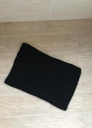 Женский тёплый шарф хомут чёрного цвета крупной вязки
