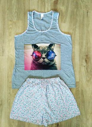 Симпатичная модная пижама, костюм для дома, с крутым котом, 46-48