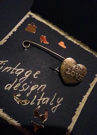 Vintag design italy  булавка брошь для одежды медь