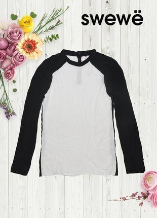 Рубашка блуза черно-белая на кнопках с полосами сбоку блуза sweewe