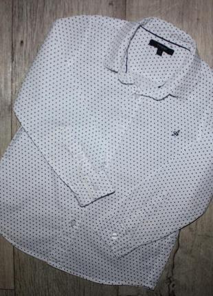 Рубашка нарядная стильная белая черный горошек m&s 5-6 лет, рост 110-116 см.