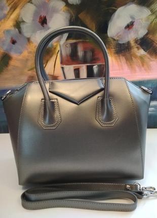 Стильная, деловая сумка в стиле givenchy, темное серебро