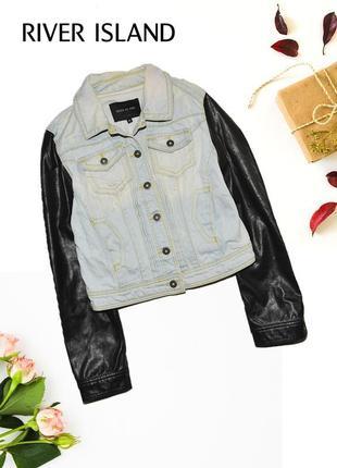 Куртка с джинсовыми рукавами деним river island