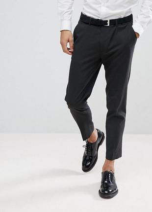 Мужские брюки кроп, классические штаны укороченные,