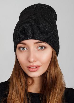 Удлиненная женская шапка с люрексовой ниткой, без отворота, чёрный