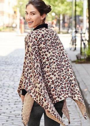 Пончо кардиган накидка теплая леопардовый принт next oversize оверсайз s m