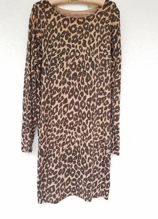 Платье трикотажное анималистический принт леопард