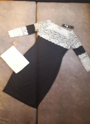 Черно-белое платье с кружевом!