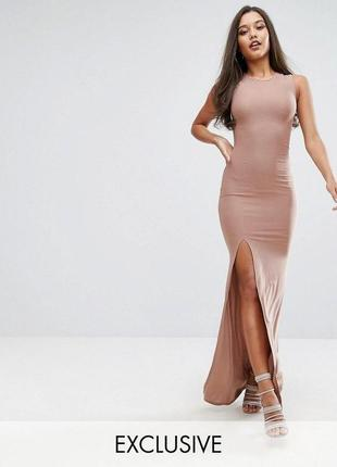 Платье макси с высоким воротом club l