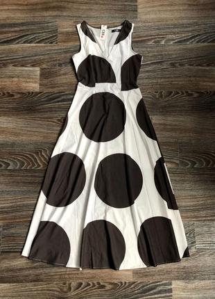 Новое невероятное белое хлопковое длинное макси платье в коричневый горох, горошек от cbr