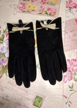 Чорні замшові рукавички розмір 7,5