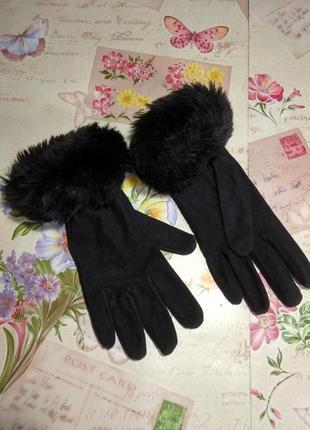 Чорні жіночі рукавички розмір 7,5-8