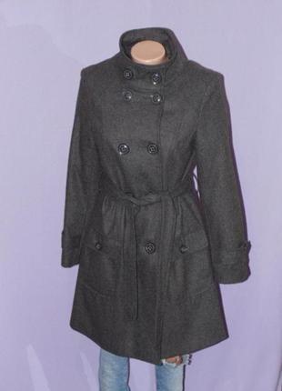 Шикарное серое пальто 10 размера/45% шерсть atmosphere