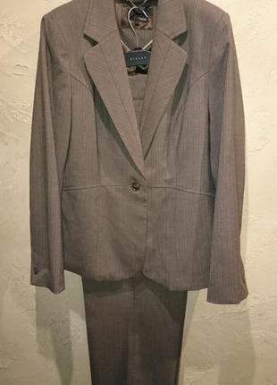 Стильный офисный коричневый классический костюм пиджак брюки next2
