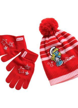 Новый красный набор шапка + перчатки smurfs для девочки, disney, 41410