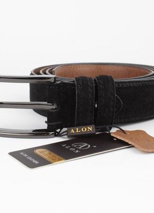 Замшевый классический ремень alon 352416 черный 35 мм