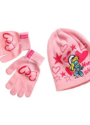 Новый розовый набор шапка + перчатки smurfs для девочки, disney, 41411