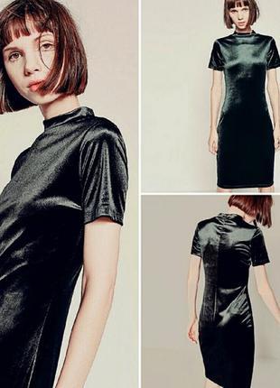 Шикарное бархатное платье миди от zara