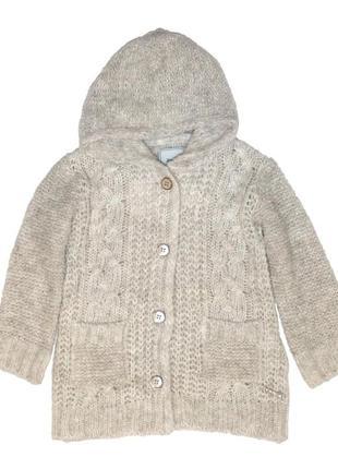 Новый бежевый удлиненный вязаный свитер для девочки, mayoral, 4341