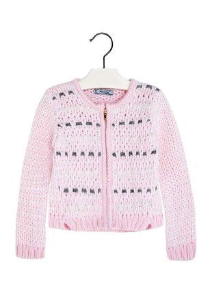 Новый вязаный светло-розовый укороченный кардиган для девочки, mayoral, 4337
