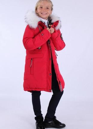 Зимнее пальто-парка для девочки purosporo