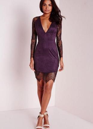 Вечернее нарядное платье под замш с гипюром