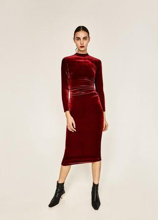 Zara бархатное красное платье, s-m, шёлк