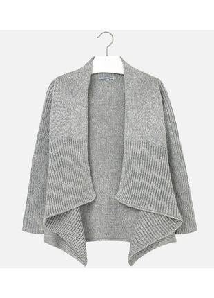 Новый серый вязаный кардиган для девочки, mayoral, 7324