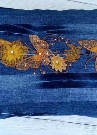 Hand made большая джинсовая подушка вышивка