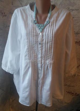 Белая блуза лен королевский размер 56